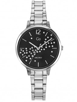 Montre femme argent Go Girl cadran noir strass bracelet acier 695345
