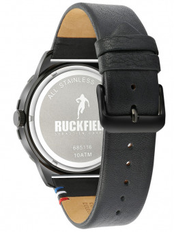 Bracelet cuir noir véritable, montre Ruckfield, boucle simple ardillon, 685116