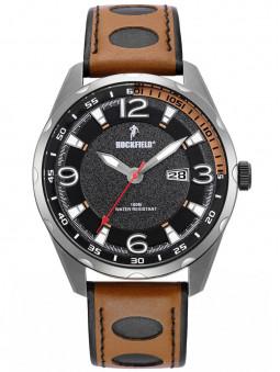 Montre sport Ruckfield vintage acier bracelet cuir marron 685117