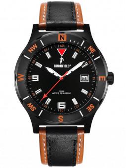 Montre Ruckfield sport bracelet cuir noir orange 685007