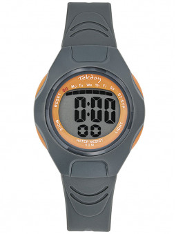 Montre digitale sport enfant Tekday grise orange 654665