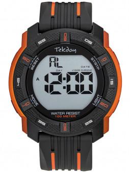 Montre digitale sport Tekday noire orange cadran large multifonction 655983