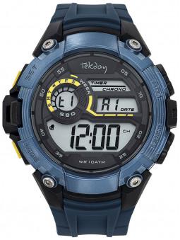 Montre digitale Sport Tekday bleu noire cadran large multifonction 655054