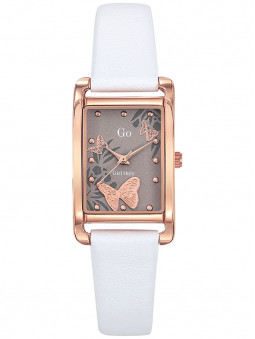Montre rectangle femme Go cuir blanc acier dore rose 699208