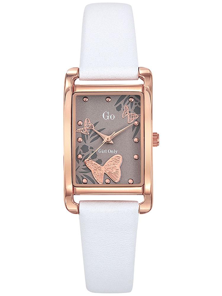 Montre rectangle femme Go cuir blanc acier dore rose 699208