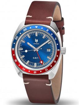 montre LIP Marinier G.M.T. homme bracelet cuir 671377