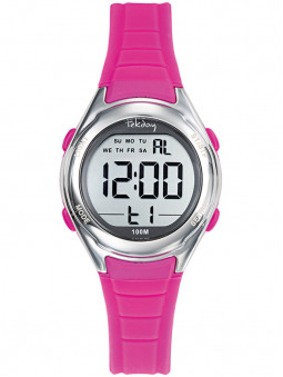 Montre Tekday digitale fille rose fluo 654713