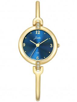 Fine montre dorée cadran bleu nuit contrastant, pour femme, marque Joalia. Code article : 630628