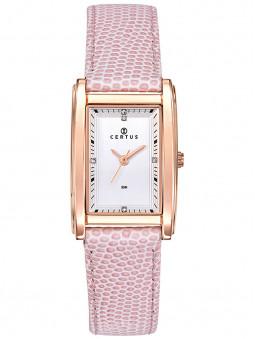 Certus propose ce modèle de montre pour femme, originale, avec son cadran rectangulaire doré rose et son bracelet en cuir rose.