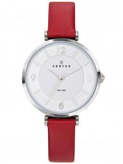 Jolie montre Certus au style glamour avec son fin bracelet en cuir rouge et son large cadran argenté. On craque !