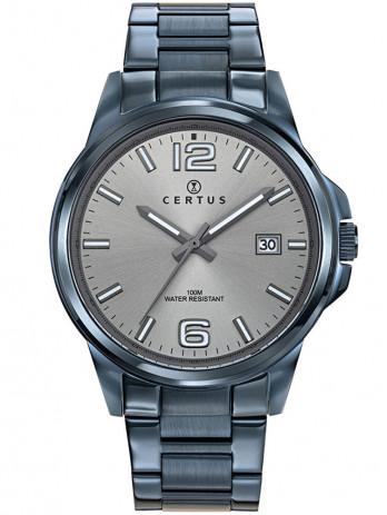 Certus vous présente ce modèle de montre homme tout en acier, d'un joli bleu gris foncé. Très moderne.