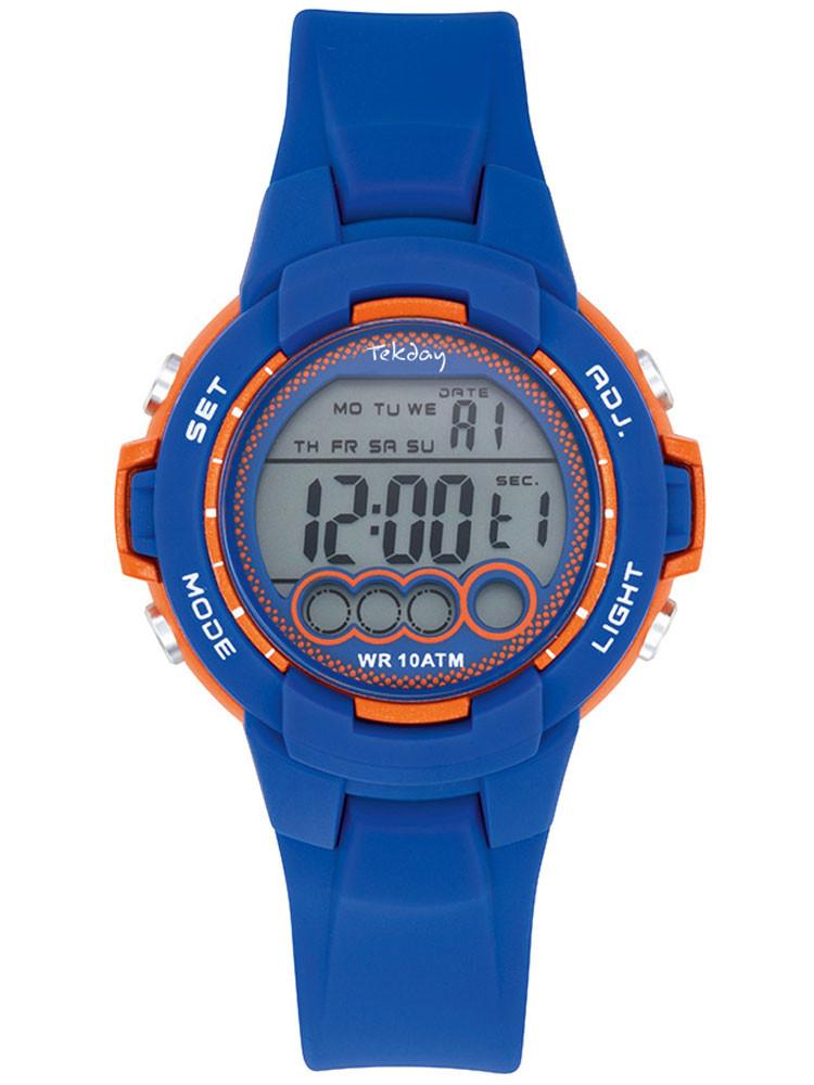 Tekday vous propose cette montre enfant bleue et orange, dotée d'un affichage digital et une allure sport. Code article : 654728