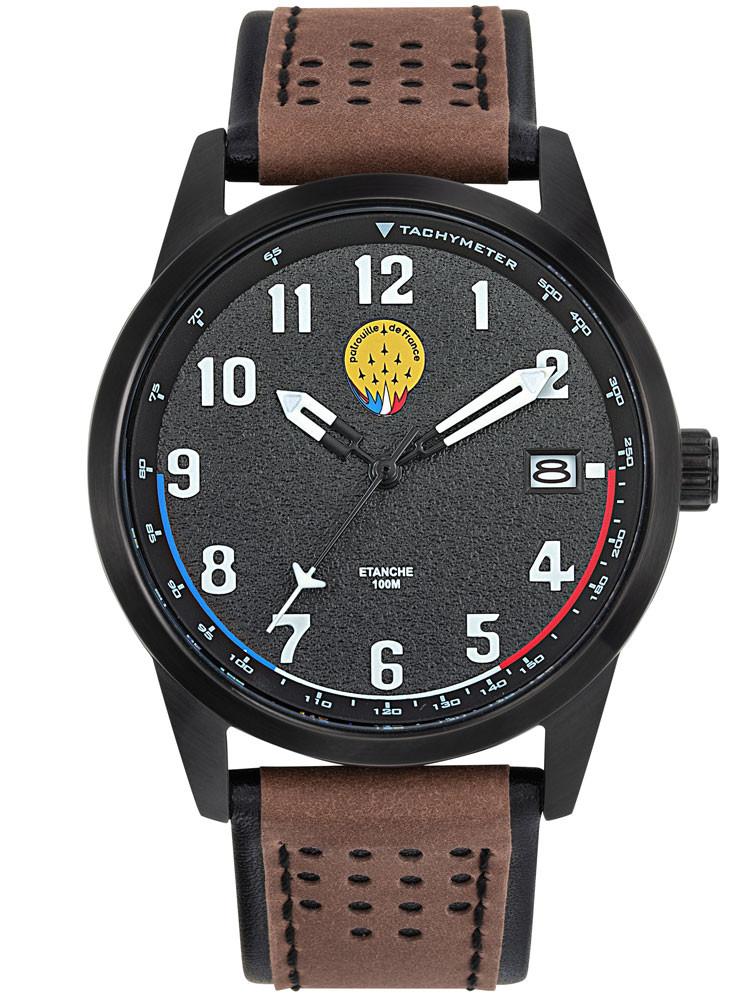 Découvrez ce modèle Patrouille de France 668510, design sport de style aviateur.Bracelet cuir marron. Code article : 668510