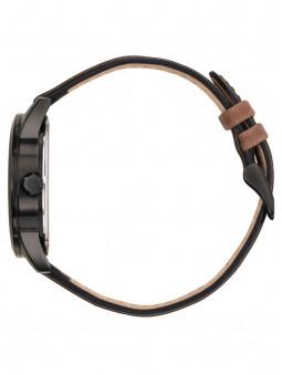 Montre Patrouille de France 668510 vue de profil. Bracelet en cuir véritable de couleur marron et noir. Surpiqûres apparentes.