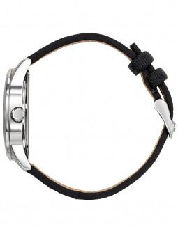 Montre Patrouille vue de profil bracelet cuir noir en cuir et nylon 668508