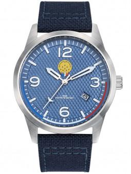 Montre aviateur siglé Patrouille de France avec son bracelet blue jean en nylon et cuir, très original. Code article : 668509