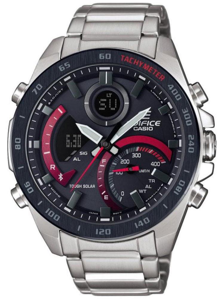 Découvrez cette montre Casio Edifice ECB-900DB-1AER. Une montre solaire connectée Bluetooth® pleine de surprises !