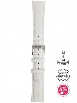 Bracelet montre cuir blanc façon alligator