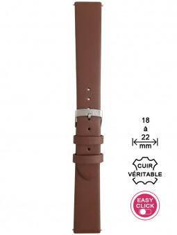 Bracelet montre cuir marron lisse