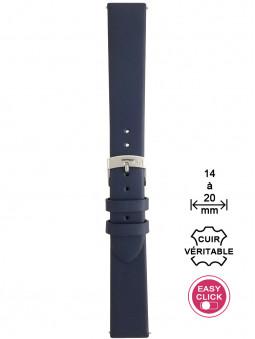 Bracelet montre cuir bleu lisse
