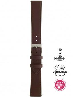 Bracelet montre cuir marron surpiqué