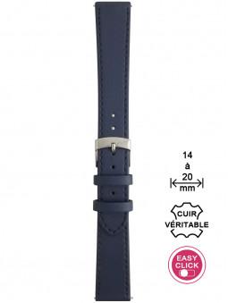 Bracelet montre cuir bleu surpiqué