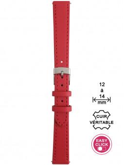 Bracelet montre cuir rouge surpiqué