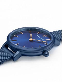 Vue plongeante sur la montre bleue Pierre Lannier 015J966