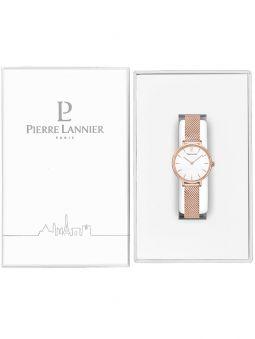 Montre femme Pierre Lannier bracelet milanais rose fond nacré 014J928 dans son écrin