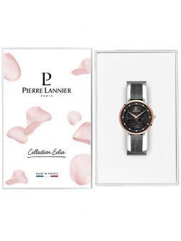 Montre femme Pierre Lannier bracelet milanais noir cadran motif fleuri noir 045L988 dans son écrin