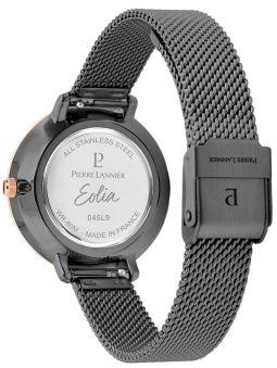 Montre femme Pierre Lannier bracelet milanais noir cadran motif fleuri noir 045L988 de dos