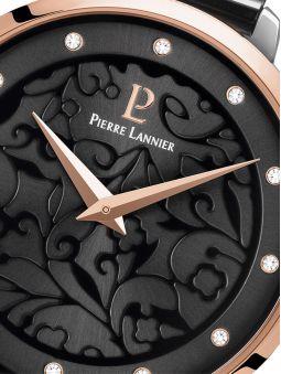 Montre femme Pierre Lannier bracelet milanais noir cadran motif fleuri noir 045L988 zoom