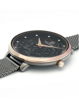 Montre femme Pierre Lannier bracelet milanais noir cadran motif fleuri noir 045L988 3/4