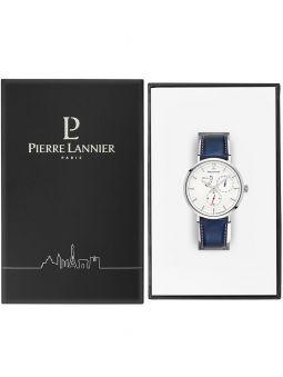 Montre automatique cuir bleu Pierre Lannier Evidence 327B106 dans son écrin