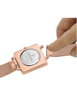 Montre femme Pierre Lannier acier doré rose boitier carré fond blanc 008F928 Easy Clic