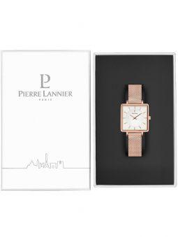 Montre femme Pierre Lannier acier doré rose boitier carré fond blanc 008F928 dans son écrin