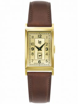 Vue de face de la montre Lip Churchill T18 vintage cuir marron clair 671014