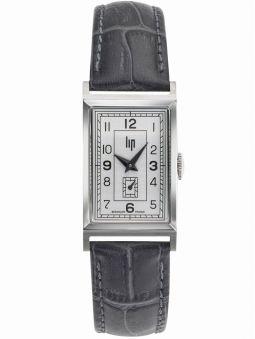 Montre Lip Churchill T18 Art Déco bracelet cuir gris anthracite 671000 de face