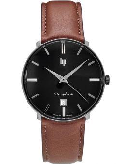 Montre LIP DAUPHINE bracelet cuir marron 671438 de face