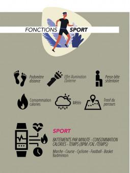 Fonctions sport de la montre connectée noire Lifestyle Smarty 2.0 SW007D
