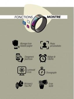 Fonctions montre de la montre connectée noire Lifestyle Smarty 2.0 SW007D