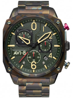 Montre chrono Avi-8 Ground Camo style militaire AV-4052-22, motif camouflage kaki