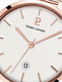 Cadran blanc, indexes et jeu d'aiguilles doré-rose, guichet-date à 6h, montre Pierre Lannier 032K908