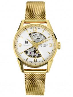 Montre Lip Himalaya, mouvement automatique, pour femme, doré jaune, bracelet milanais, référence 671681