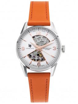 Montre Lip Himalaya, mouvement automatique, pour femme, bracelet cuir orange feu, référence 671680