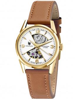 montre lip himalaya, mouvement automatique analogique MIYOTA, cadran sablier, bracelet cuir brun, référence 671683