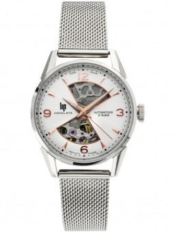 Montre Lip Himalaya, mouvement automatique, pour femme, gris argenté, en acier, bracelet milanais, référence 671682