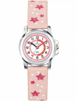 Montre junior, enfant, fille, rose pastel, étoiles rose foncé sur le bracelet, marque Certus, référence 647649