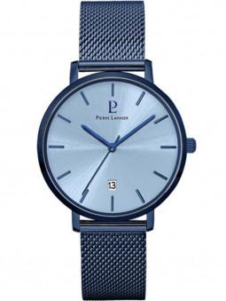 Montre Pierre Lannier Echo 259F469, pour homme, entièrement bleue, cadran bleu, bracelet milanais bleu, aiguilles bleues