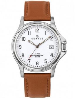Montre pour homme, marque Certus, bracelet en cuir véritable, cadran blanc, référence 610395